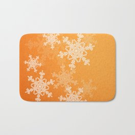 Orange snowflakes Bath Mat