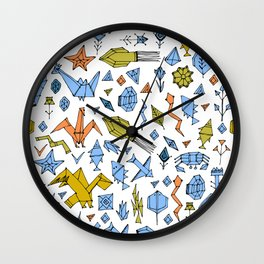 Marine animals and plants, Stylized origami Wall Clock