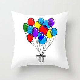 A Bouquet of Multi-Colored Balloons tied in a Bow Throw Pillow
