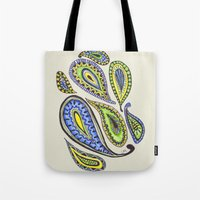 paisley Tote Bags featuring Paisley by Laura Maxwell