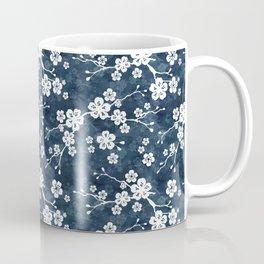 Navy and white cherry blossom pattern Coffee Mug