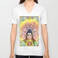 shiva V-neck T-shirts featuring Sunflower Shiva by BradButler