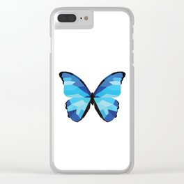 Blue butterfly Low polly artwork Geometric Blues art Clear iPhone Case