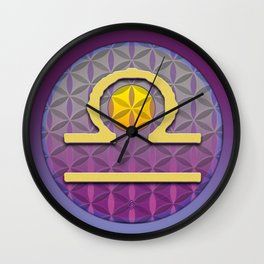 Flower of Life LIBRA Astrology Design Wall Clock
