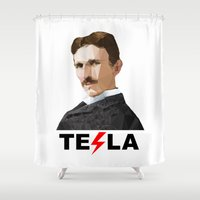 tesla Shower Curtains featuring Tesla by Vi Sion