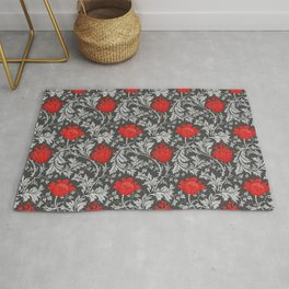 Art Nouveau Anemone, Gray / Grey and Red Rug