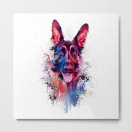 Drippy Jazzy German Shepherd Colorful Dog Art by Jai Johnson Metal Print