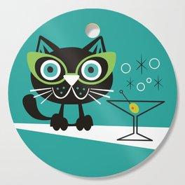 1950s Swank Mid Century Modern Martini Cocktail Kitty Cat Cutting Board