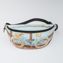 Two retro bicycles standing on Santa Barbara pier, California, USA. Vintage filter with muted teal blue and orange colors. Fanny Pack