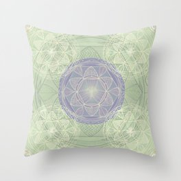 Mandala Pattern in Mint and Lilac Throw Pillow