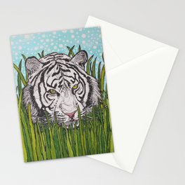 White tiger in wild grass Stationery Cards