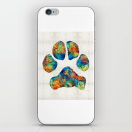 Colorful Dog Paw Print by Sharon Cummings iPhone Skin
