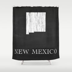 New Mexico State Map Chalk Drawing Shower Curtain