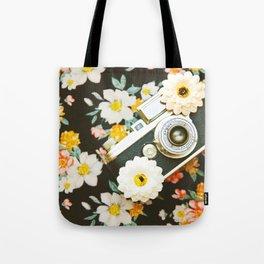 Floral Vintage Camera (Color) Tote Bag