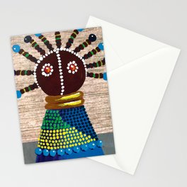African kenyan doll in blue dress Stationery Cards