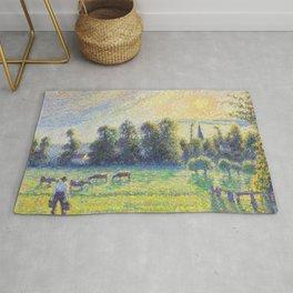 "Camille Pissarro ""Pâturage, coucher de soleil, Eragny""(""Pasture, sunset, Eragny"") Rug"