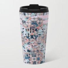 Pink and Blue Modern Geometric and Animal Print Pattern Metal Travel Mug