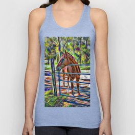 Abstract horse standing at gate Unisex Tank Top