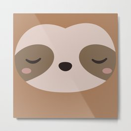 Kawaii Cute Sloth Metal Print