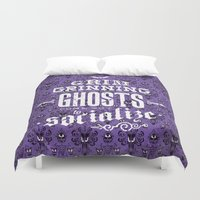 haunted mansion Duvet Covers featuring Haunted Mansion - Grim Grinning Ghosts by tonysimonetta