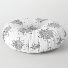Passionflower Black and White Flower Illustrated Print Floor Pillow