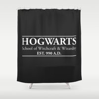 witchcraft Shower Curtains featuring Hogwarts School of Witchcraft & Wizardry (Black) by IA Apparel