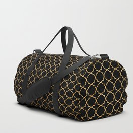 Elegant black faux gold glitter chic quatrefoil vector illustration Duffle Bag