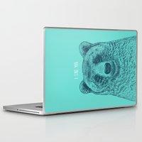 i like you Laptop & iPad Skins featuring I Like You (Bear) by Rachel Caldwell