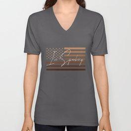 Excuse Me I'm Speaking Funny Kamala Harris Melanin USA Flag Unisex V-Neck