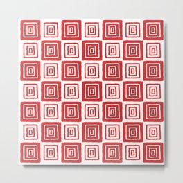 Mid Century Modern Geometric Checker 821 Red Metal Print