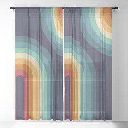 Double Rainbow on Blue Sheer Curtain