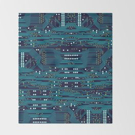 Dark Circuit Board Throw Blanket