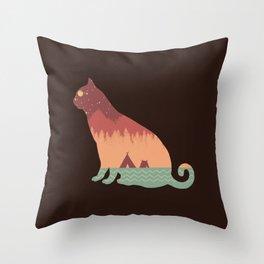 Silluette Cat Landscape Autumn Throw Pillow