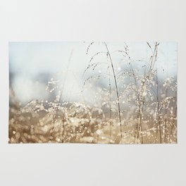 Gold Blue Sparkle Nature Photography, Dew Drop Grass Brown, Morning Water Dewdrops, Magical Bokeh Rug