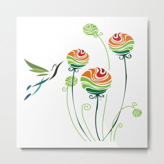 Hummingbird And Flowers Metal Print
