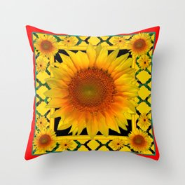 ORNATE SUNFLOWER RED-YELLOW PATTERN Throw Pillow