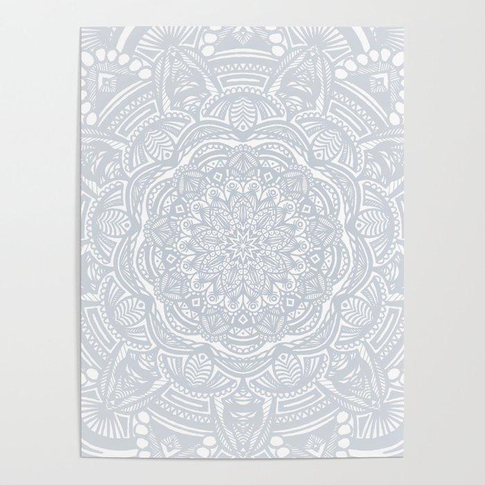 Light Gray Ethnic Eclectic Detailed Mandala Minimal Minimalistic Poster