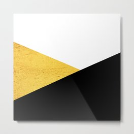 Gold & Black Geometry Metal Print
