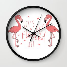 Flamingo Gifts Costume Dress Clipart Flocked Up Wall Clock