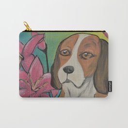 """""""Alyvia"""" Beagle Lily Painting Carry-All Pouch"""