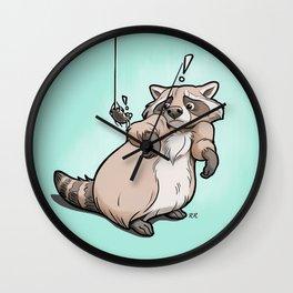 Yoikes! Raccoon Meets Spider Wall Clock
