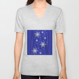 Abstract background with snowflakes Unisex V-Neck