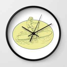 Surfer Dude Stand Up Paddle Oval Drawing Wall Clock