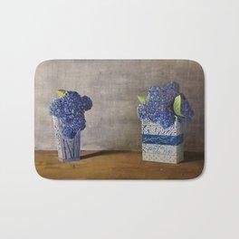 Blue Hydrangeas in Unique Chinese Vases Bath Mat