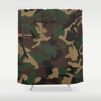 camo Shower Curtains featuring Camo by TheSmallCollective