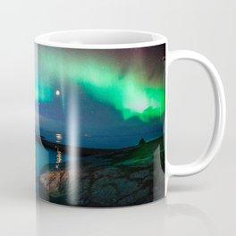 Aurora Borealis Over Coastal Waters Coffee Mug