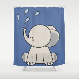 Kawaii Cute Happy Elephant Shower Curtain