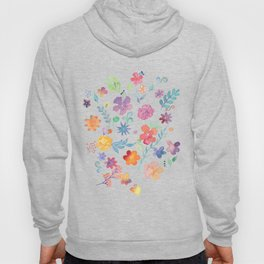 Colorful Whimsical Watercolor Flowers Pattern Hoody