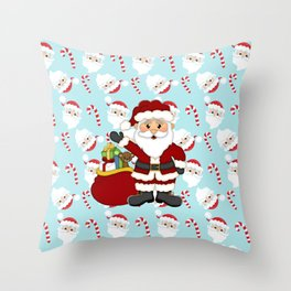 Santa and Candy Canes Throw Pillow