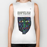 vonnegut Biker Tanks featuring Vonnegut - Canary in a Cat House by Neon Wildlife